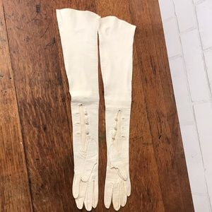 Gloves LONG White Cream Leather Vintage 6